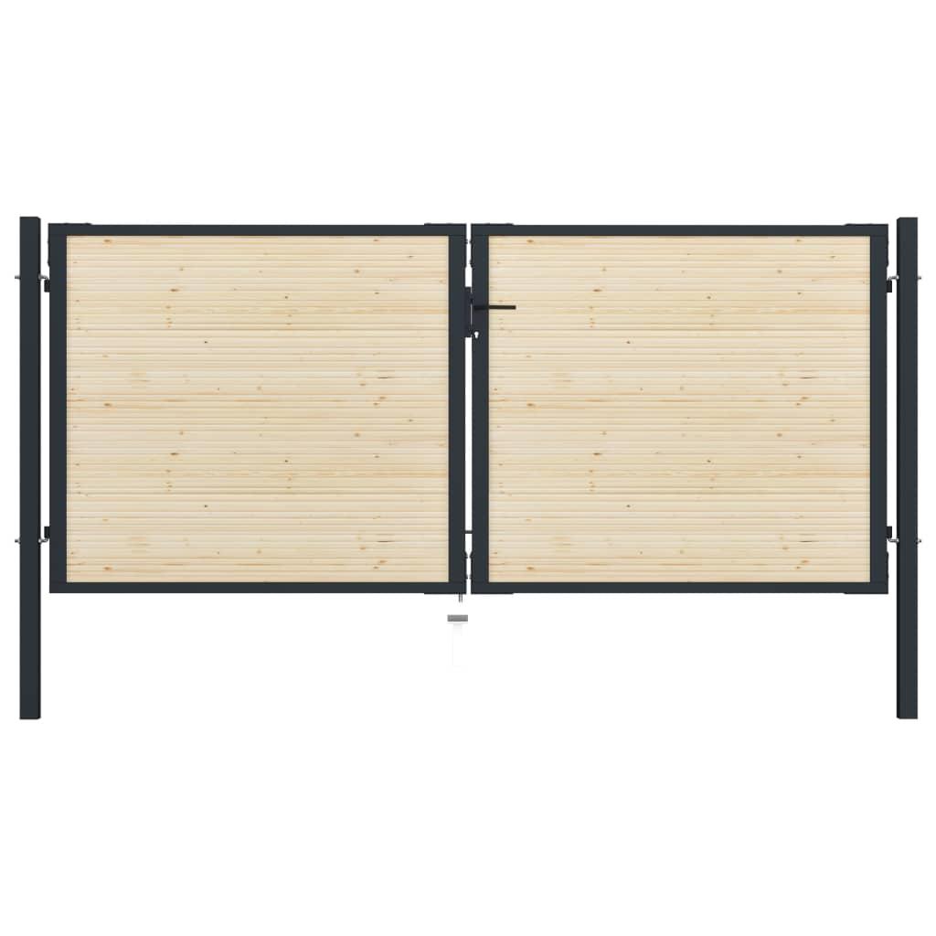 vidaXL Poartă de gard, 310 x 175 cm, oțel și lemn de molid vidaxl.ro