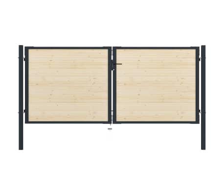 vidaXL Portail de clôture en acier et bois d'épicéa 310x175 cm