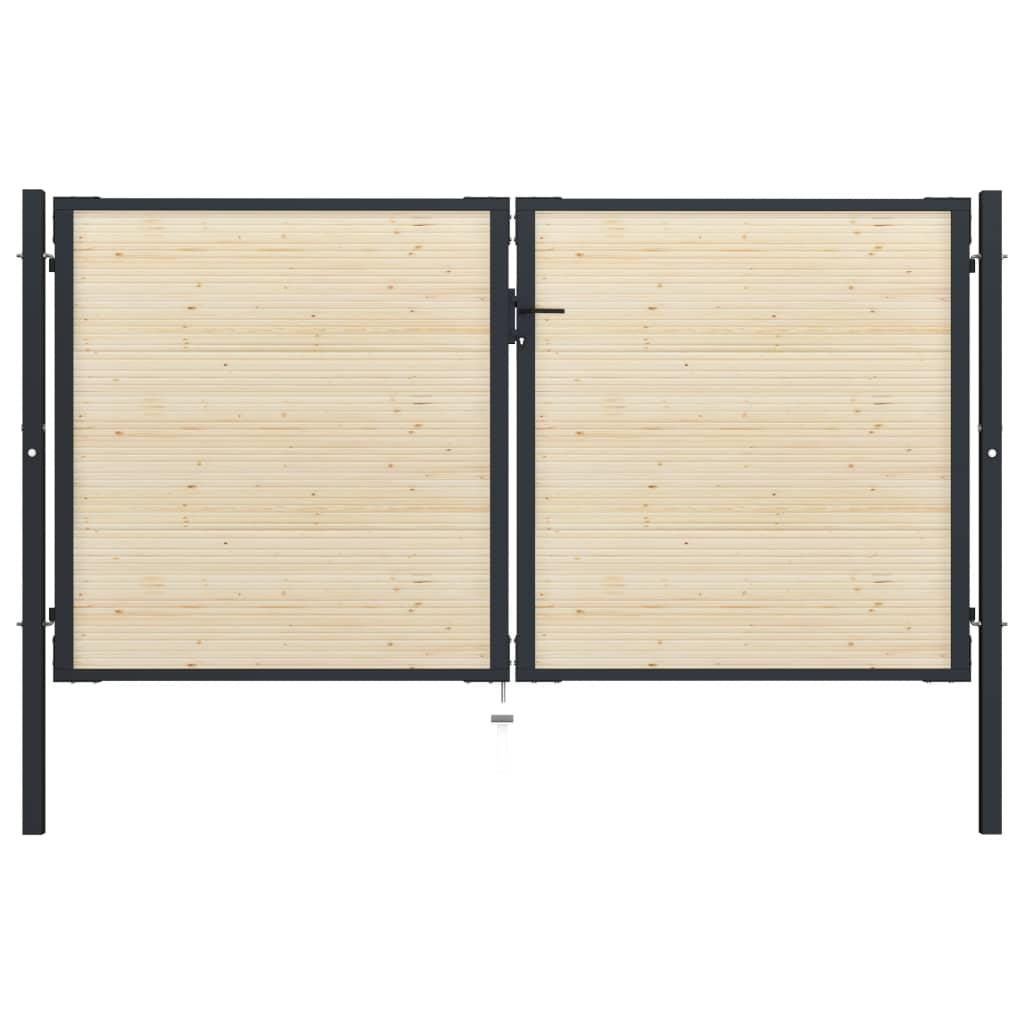vidaXL Poartă de gard, 310 x 200 cm, oțel și lemn de molid vidaxl.ro