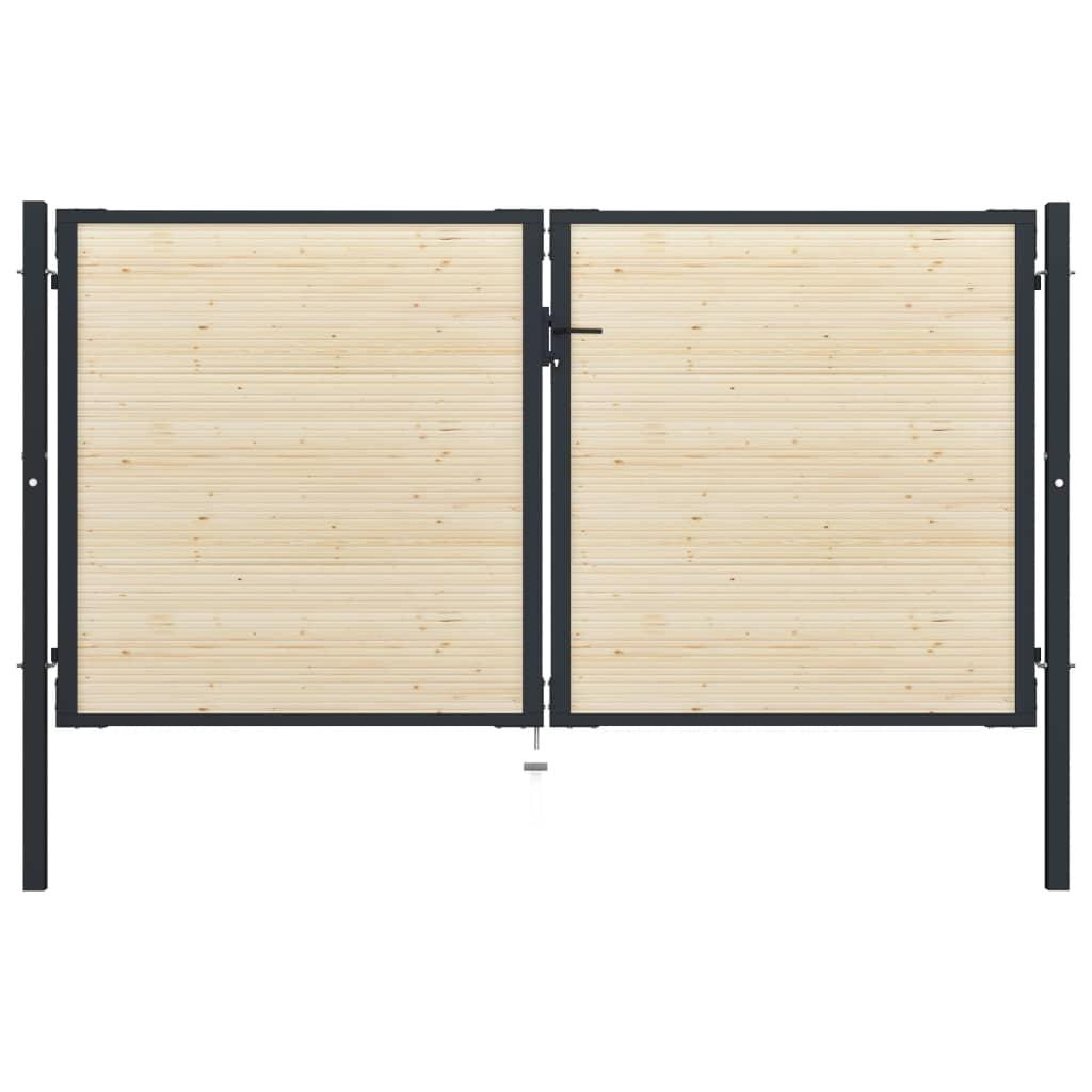 vidaXL Poartă de gard, 310 x 225 cm, oțel și lemn de molid imagine vidaxl.ro