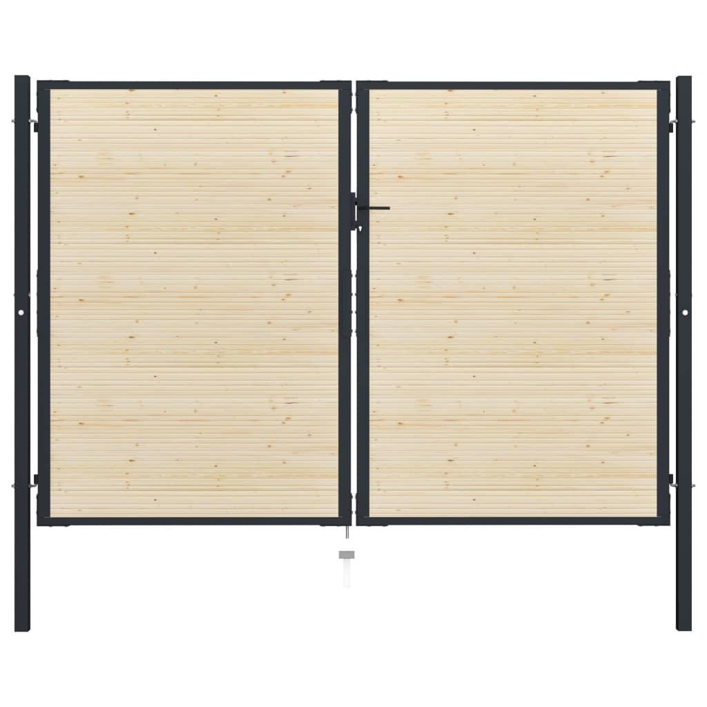 vidaXL Poartă de gard, 310 x 250 cm, oțel și lemn de molid poza vidaxl.ro