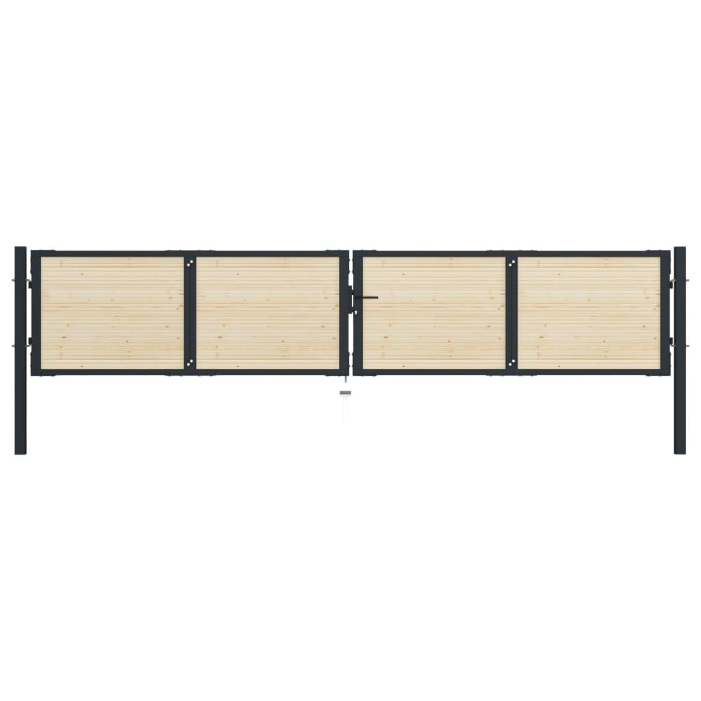 vidaXL Poartă de gard, 408 x 125 cm, oțel și lemn de molid poza vidaxl.ro