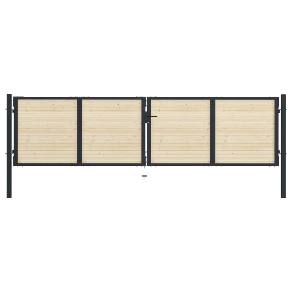 vidaXL Poartă de gard, 408 x 150 cm, oțel și lemn de molid poza 2021 vidaXL
