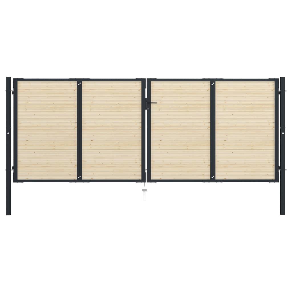 vidaXL Poartă de gard, 408 x 200 cm, oțel și lemn de molid poza 2021 vidaXL