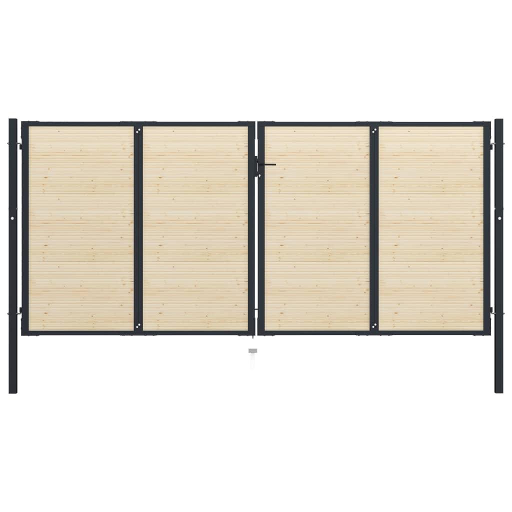 vidaXL Poartă de gard, 408 x 225 cm, oțel și lemn de molid vidaxl.ro