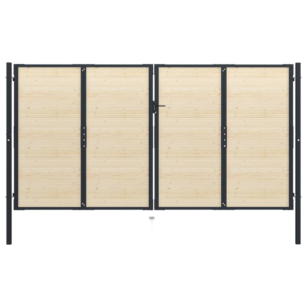 vidaXL Poartă de gard, 408 x 250 cm, oțel și lemn de molid imagine vidaxl.ro