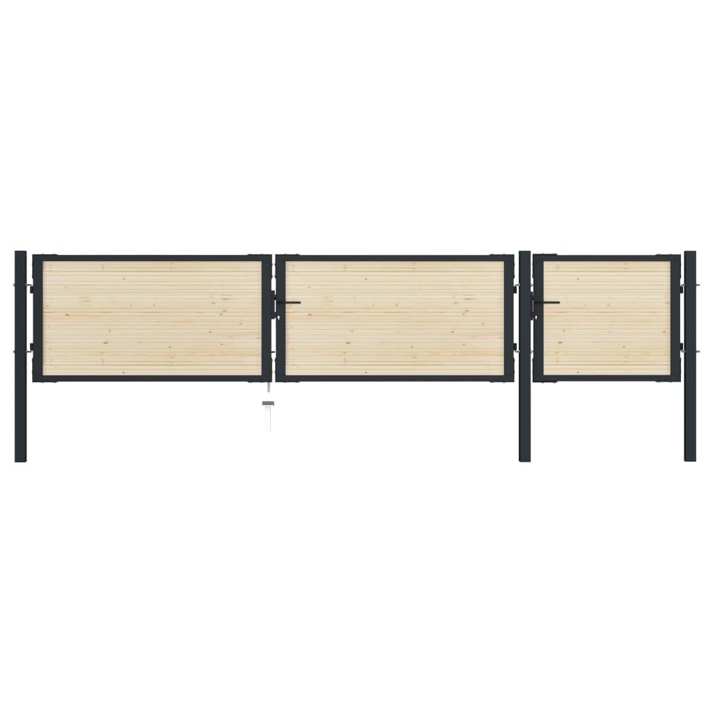vidaXL Poartă de gard, 413 x 125 cm, oțel și lemn de molid vidaxl.ro