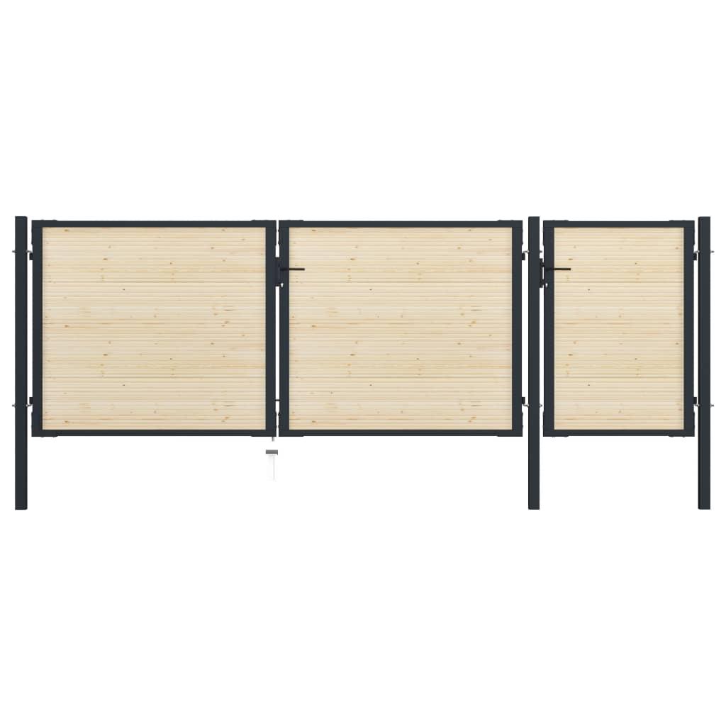 vidaXL Poartă de gard, 413 x 175 cm, oțel și lemn de molid vidaxl.ro