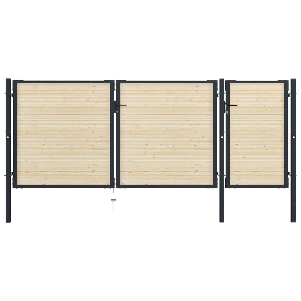 vidaXL Poartă de gard, 413 x 200 cm, oțel și lemn de molid imagine vidaxl.ro