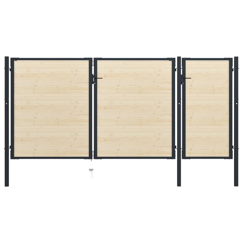 vidaXL Poartă de gard, 413 x 225 cm, oțel și lemn de molid poza 2021 vidaXL