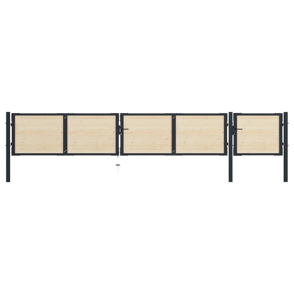 vidaXL Poartă de gard, 513 x 125 cm, oțel și lemn de molid poza vidaxl.ro