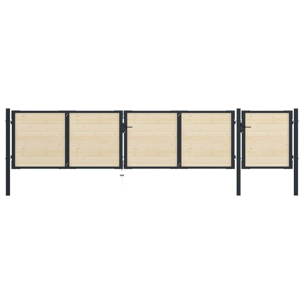 vidaXL Poartă de gard, 513 x 150 cm, oțel și lemn de molid poza 2021 vidaXL