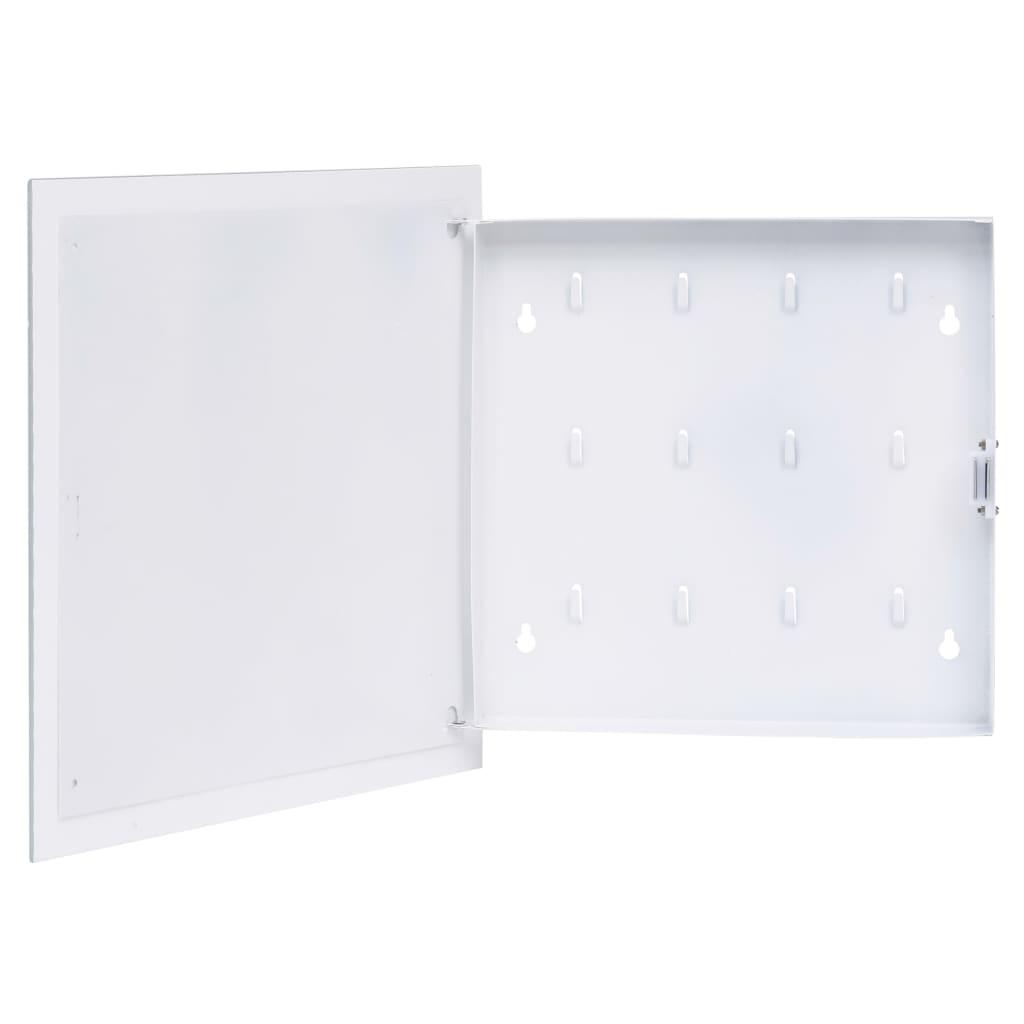 vidaXL Casetă pentru chei cu tablă magnetică, alb, 35 x 35 x 5,5 cm poza vidaxl.ro