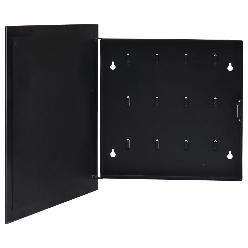 vidaXL Casetă pentru chei cu tablă magnetică, negru, 35 x 35 x 5,5 cm poza 2021 vidaXL