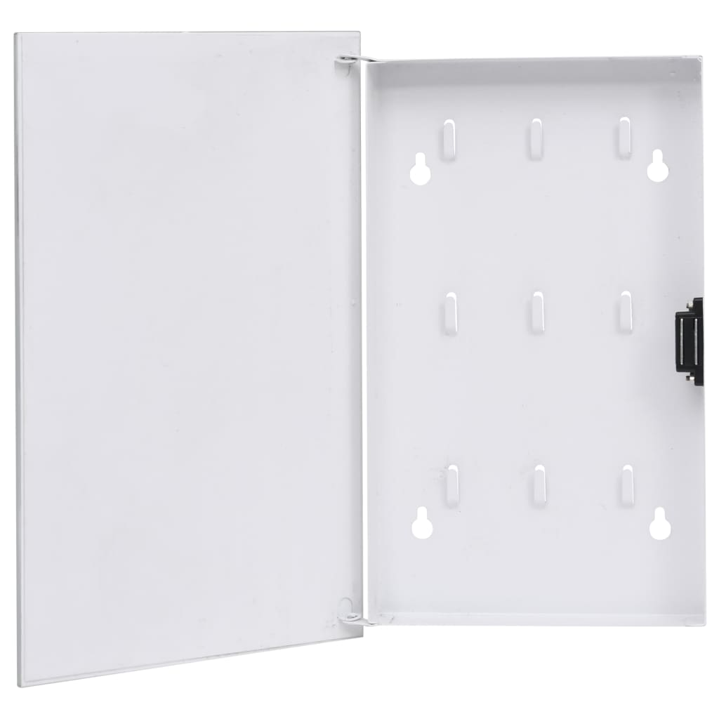 vidaXL Casetă pentru chei cu tablă magnetică, alb, 30 x 20 x 5,5 cm poza vidaxl.ro