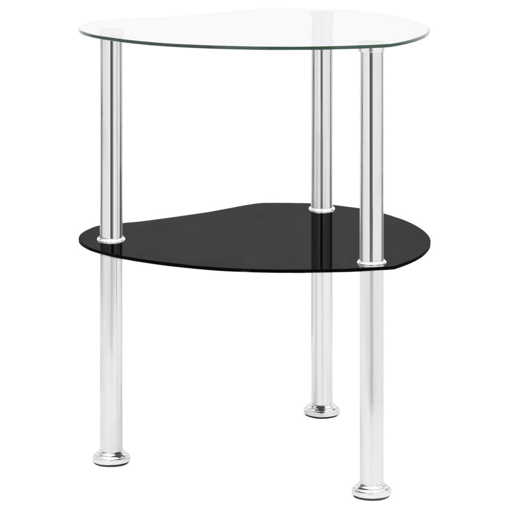 vidaXL Bočni stolić s 2 razine prozirni/crni 38x38x50cm kaljeno staklo