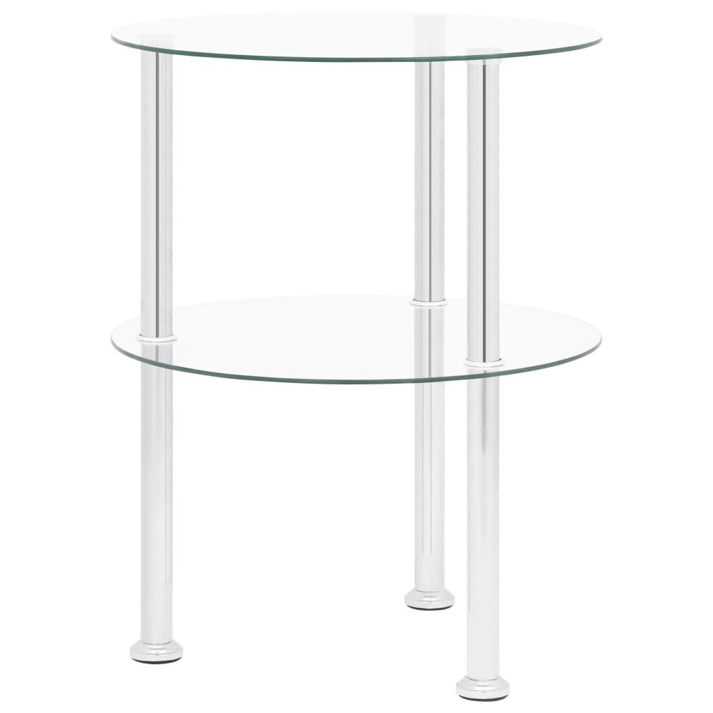 2patrový odkládací stolek průhledný 38 cm tvrzené sklo