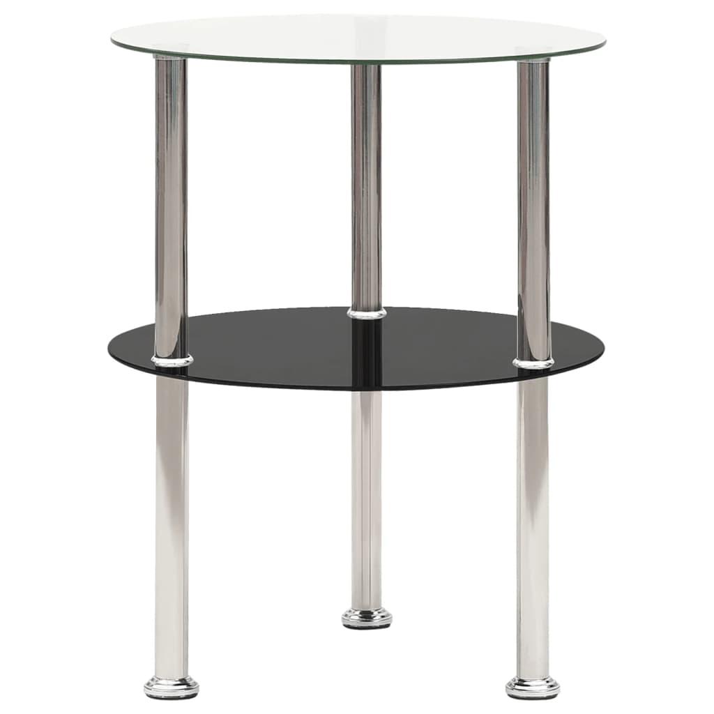 vidaXL Bočni stolić s 2 razine prozirni/crni 38 cm od kaljenog stakla
