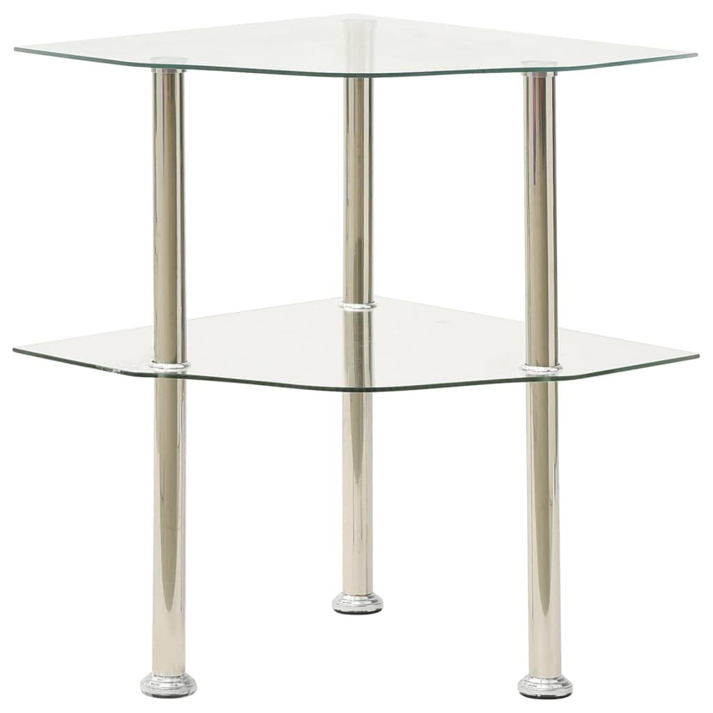 vidaXL Bočni stolić s 2 razine prozirni 38x38x50 cm od kaljenog stakla