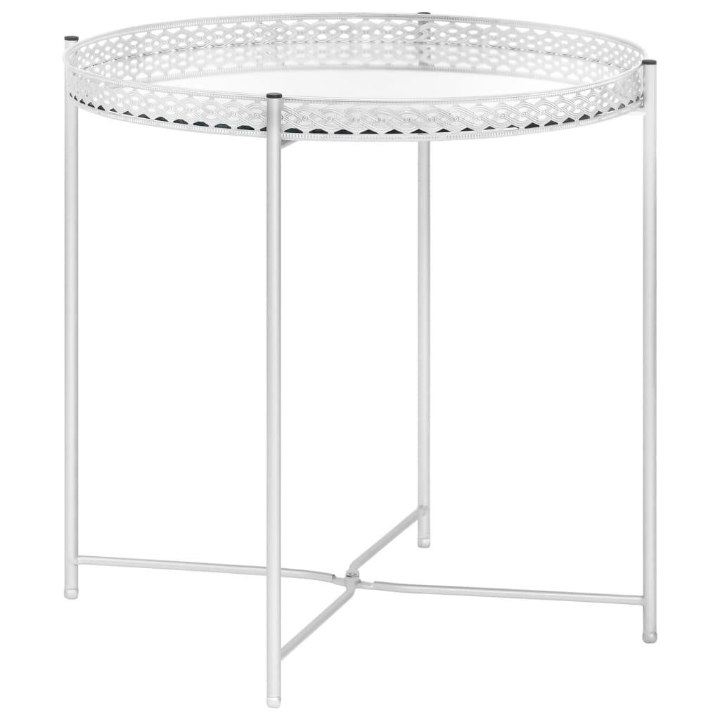 vidaXL Masă laterală, argintiu, 40 x 40 x 41 cm, sticlă poza 2021 vidaXL