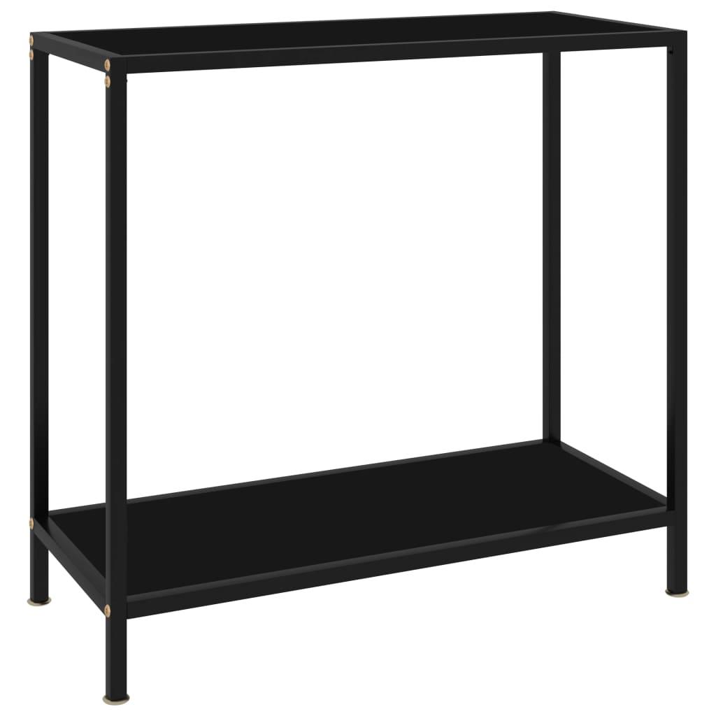 vidaXL Masă consolă, negru, 80 x 35 x 75 cm, sticlă securizată vidaxl.ro