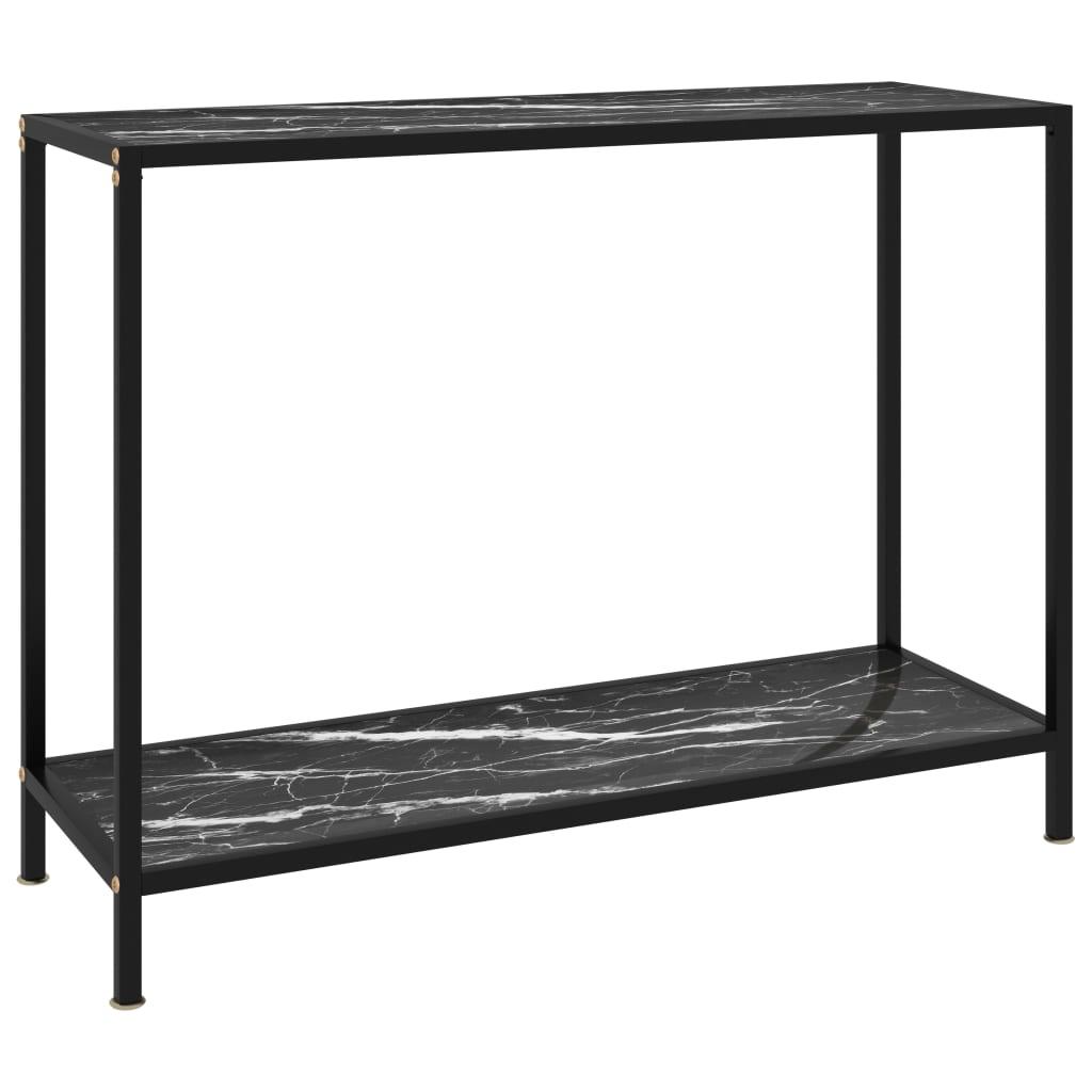vidaXL Masă consolă, negru, 100 x 35 x 75 cm, sticlă securizată poza vidaxl.ro