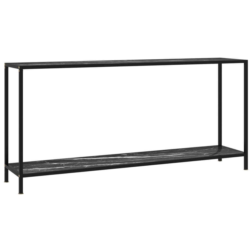 vidaXL Masă consolă, negru, 160 x 35 x 75 cm, sticlă securizată vidaxl.ro