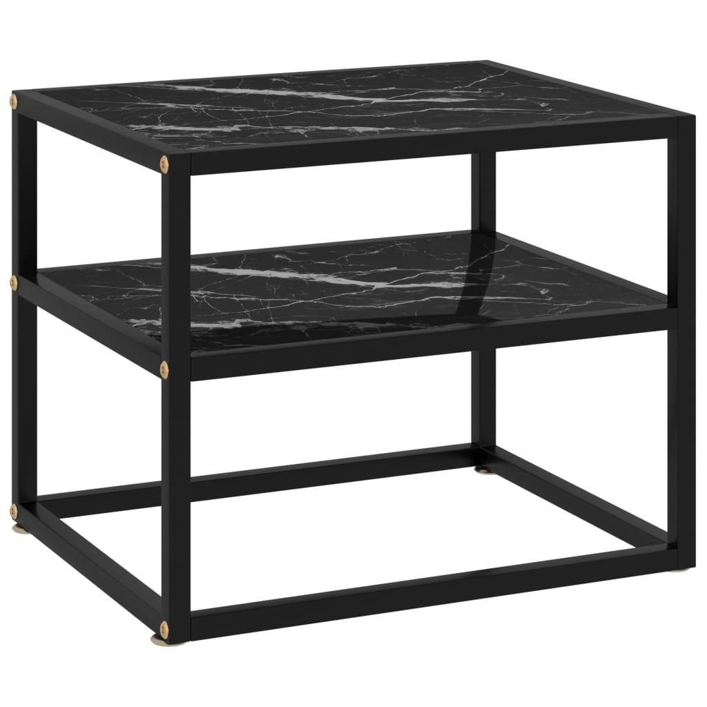 Konzolový stolek černý 50 x 40 x 40 cm tvrzené sklo