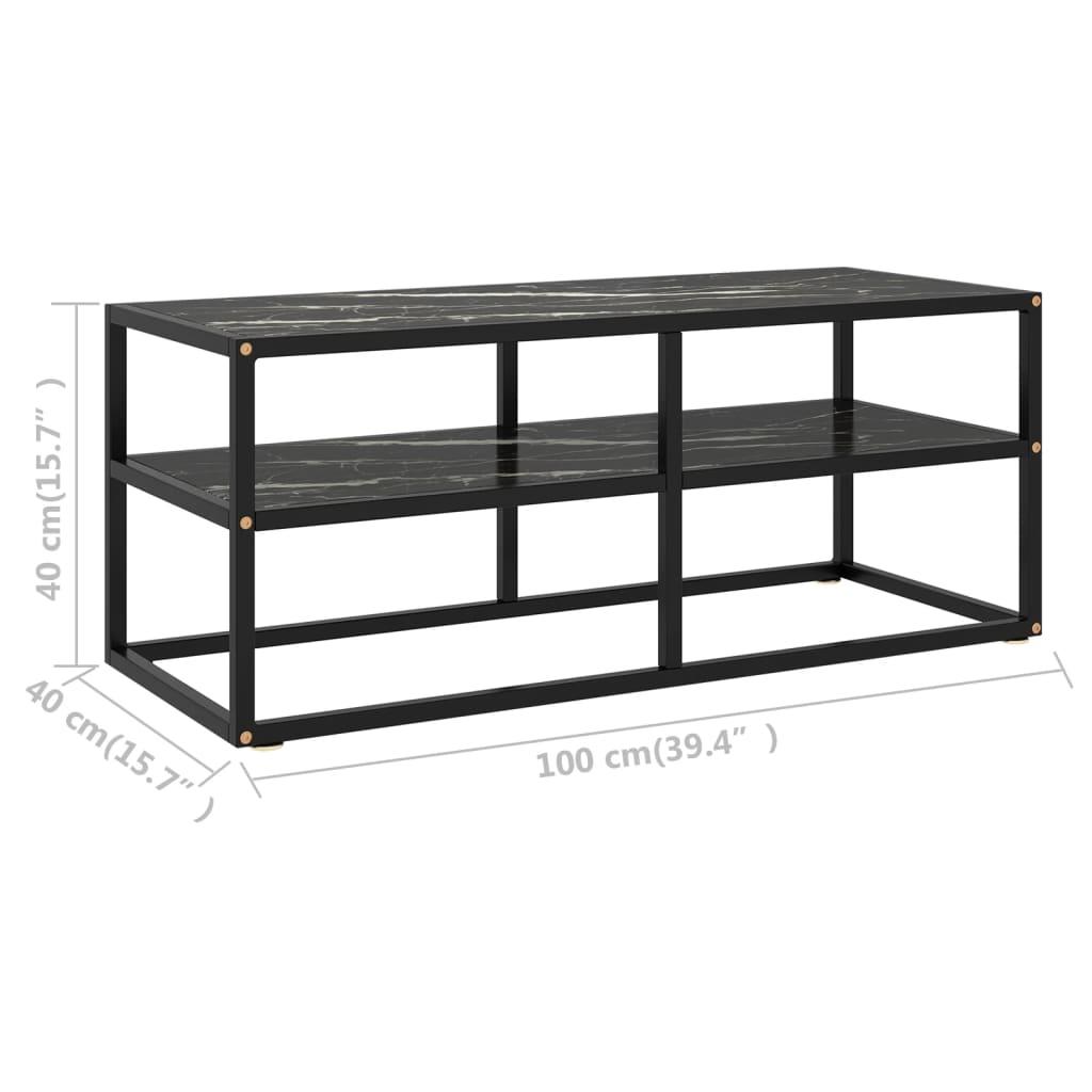 vidaXL Tv-meubel met zwart marmerglas 100x40x40 cm zwart