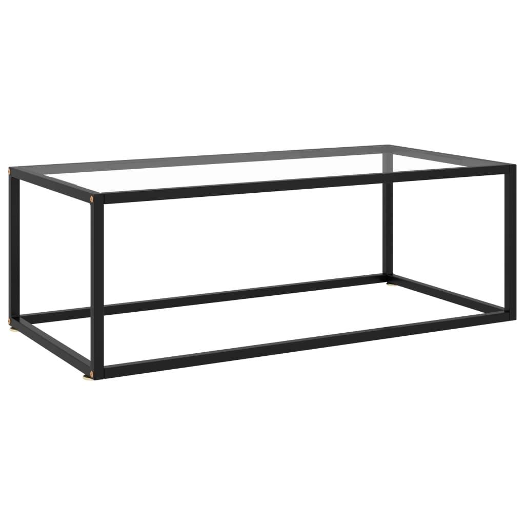vidaXL Theetafel met gehard glas 100x50x35 cm zwart
