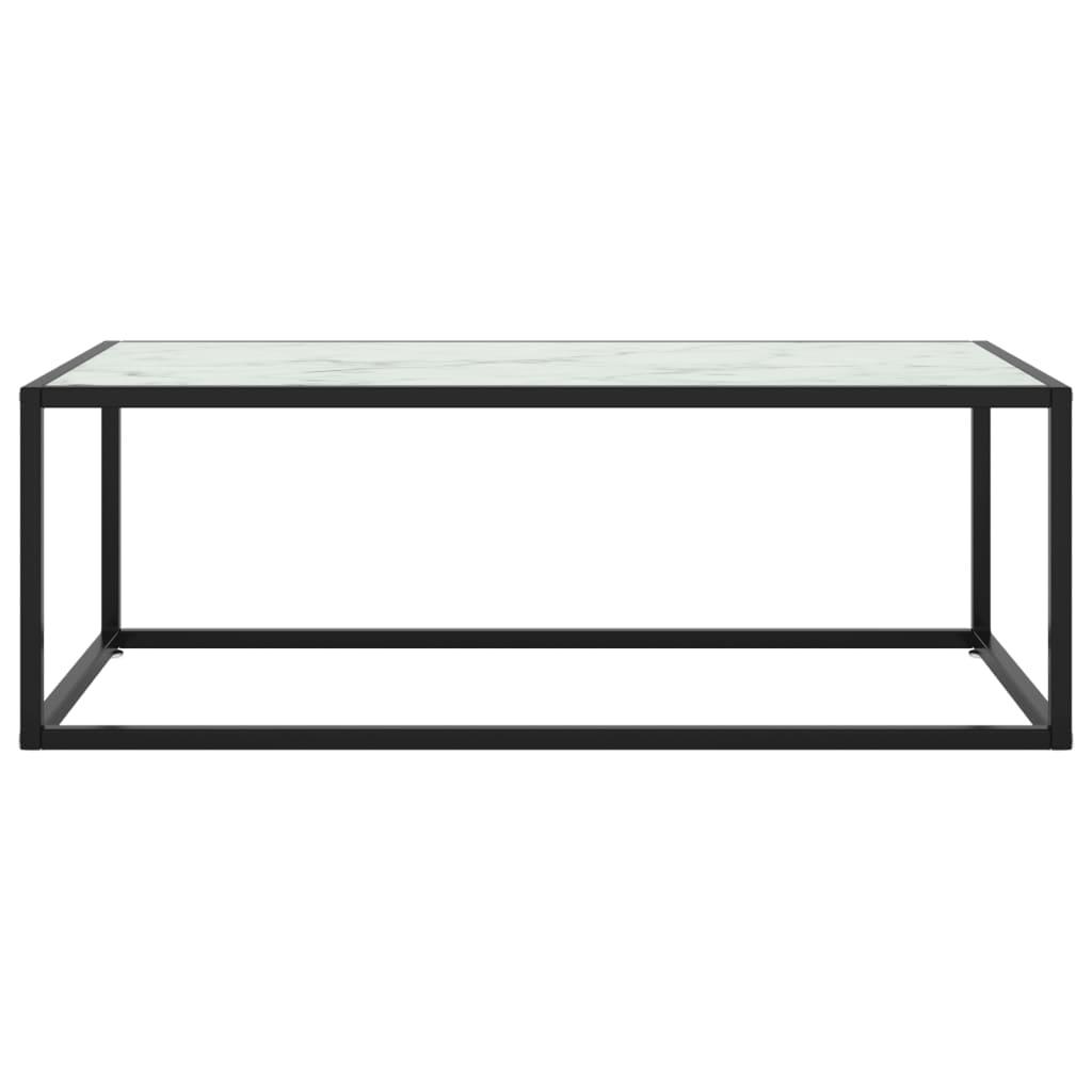 vidaXL Theetafel met wit marmerglas 100x50x35 cm zwart