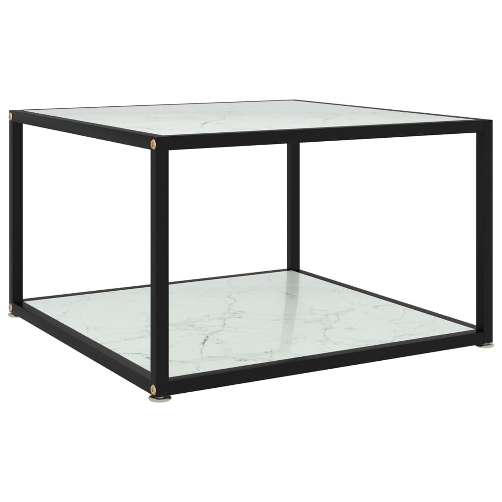 vidaXL Theetafel 60x60x35 cm gehard glas wit