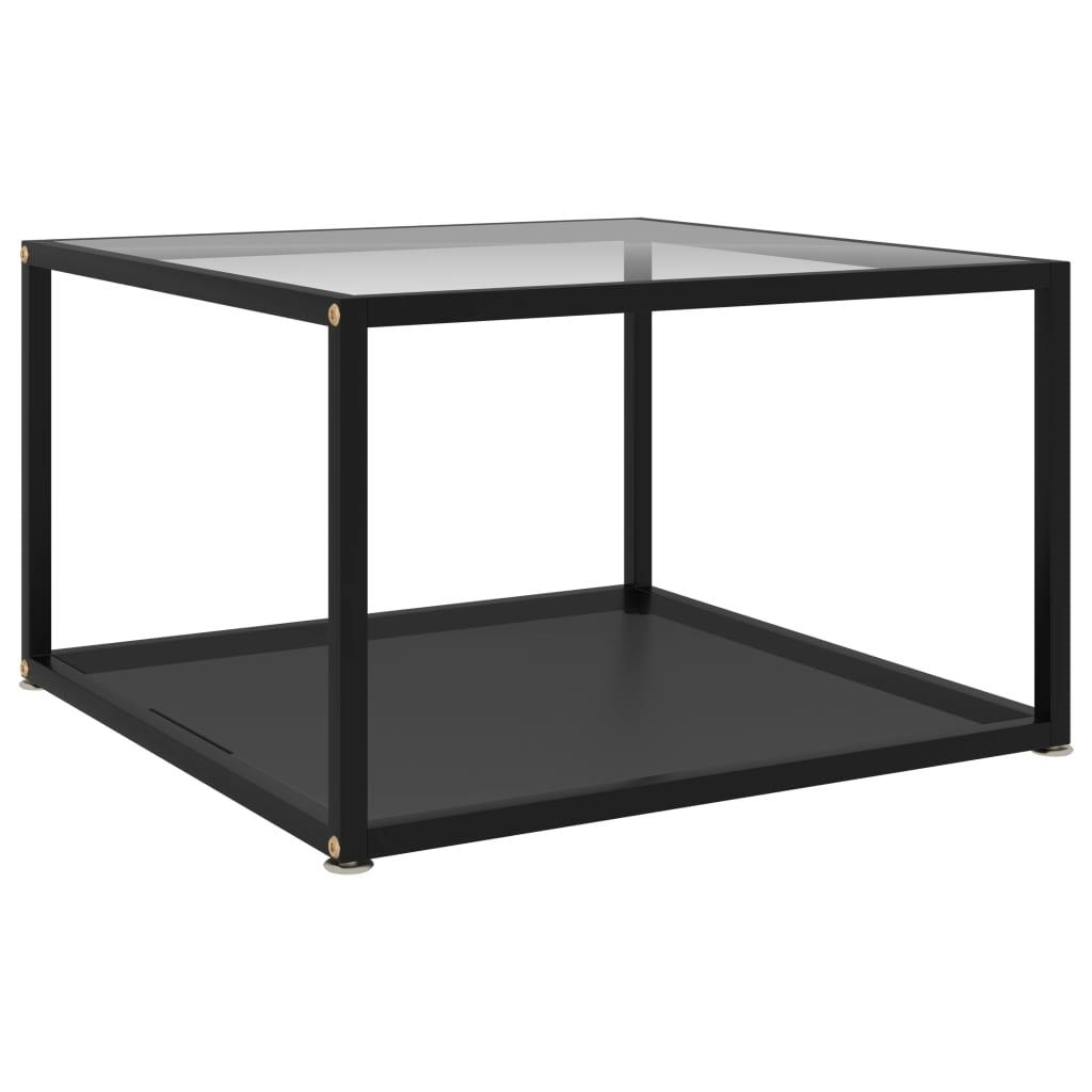 Salontafel 60x60x35 cm gehard glas transparant en zwart
