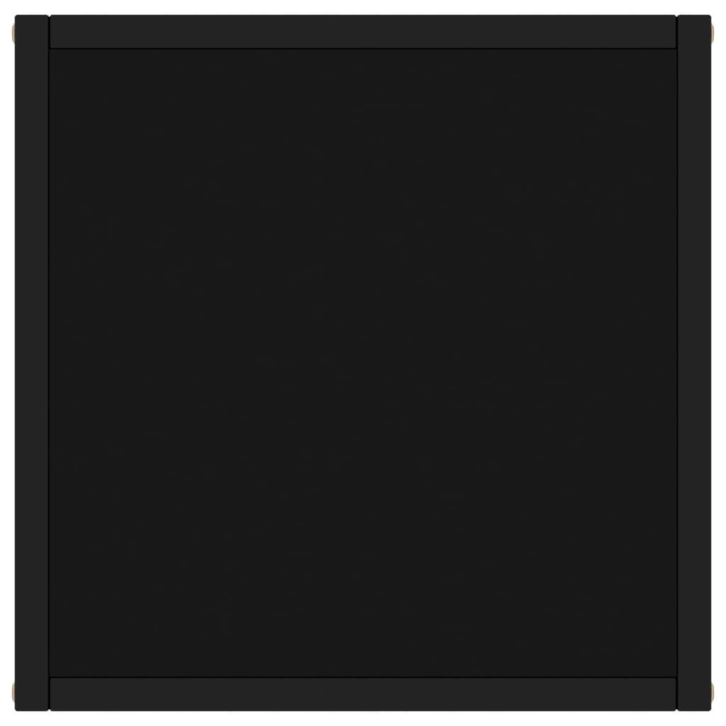 Salontafel met zwart glas 40x40x50 cm zwart