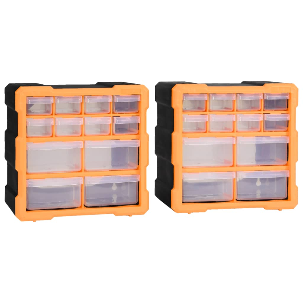 vidaXL Organizatoare cu 12 sertare, 2 buc., 26,5 x 16 x 26 cm poza 2021 vidaXL