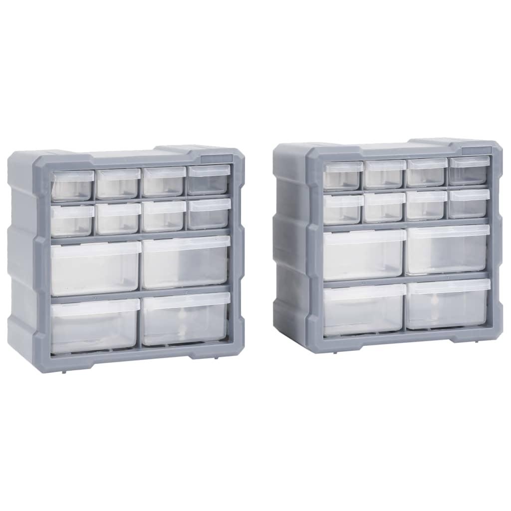 vidaXL Organizatoare cu 12 sertare, 2 buc., 26,5 x 16 x 26 cm poza vidaxl.ro