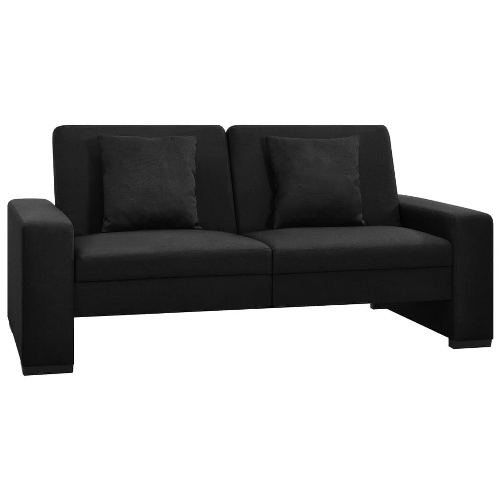 Canapé convertible Noir Tissu Confort