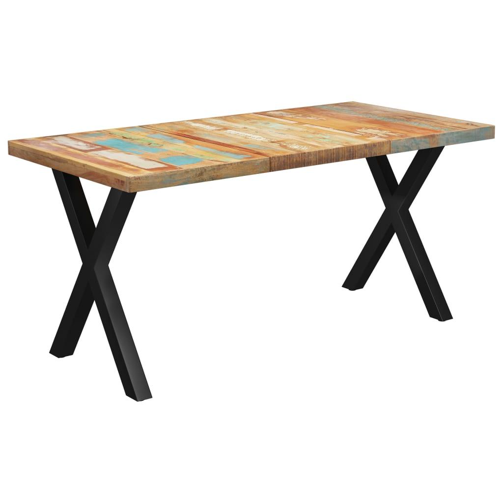 vidaXL Masă picioare în formă de X, 160x80x77 cm, lemn masiv reciclat imagine vidaxl.ro