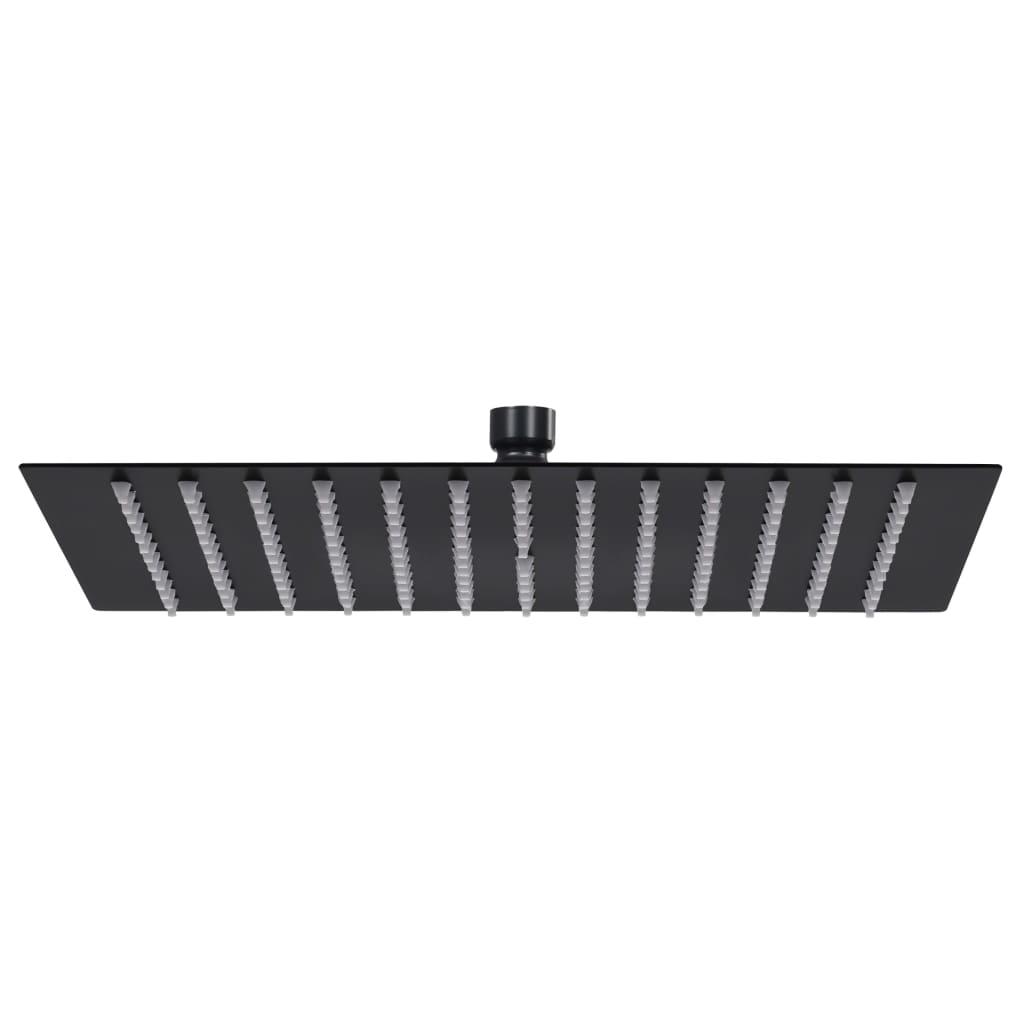 vidaXL Cap de duș tip ploaie pătrat, negru, 25x25 cm, oțel inoxidabil poza vidaxl.ro