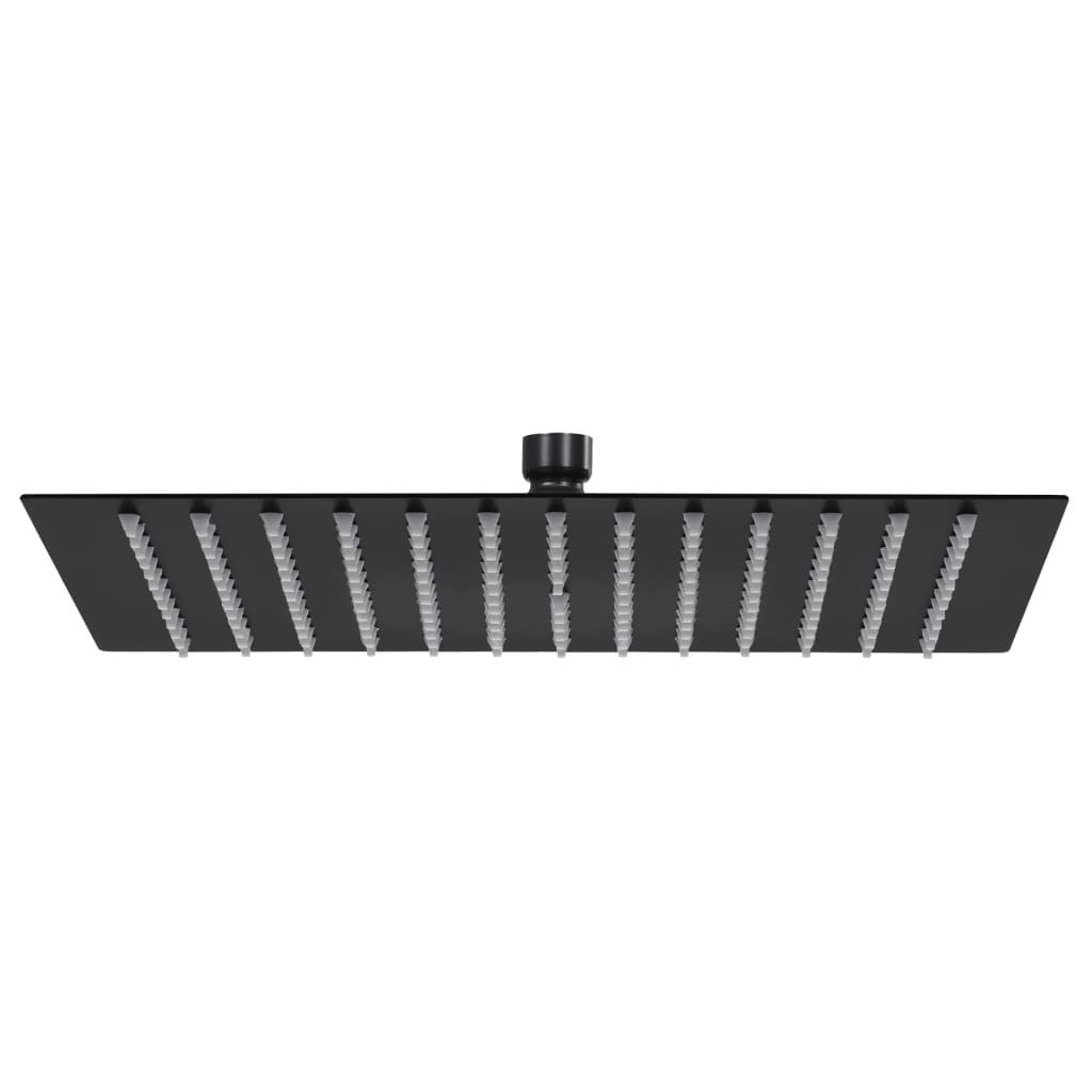 vidaXL Cap de duș tip ploaie pătrat, negru, 30x30 cm, oțel inoxidabil poza 2021 vidaXL