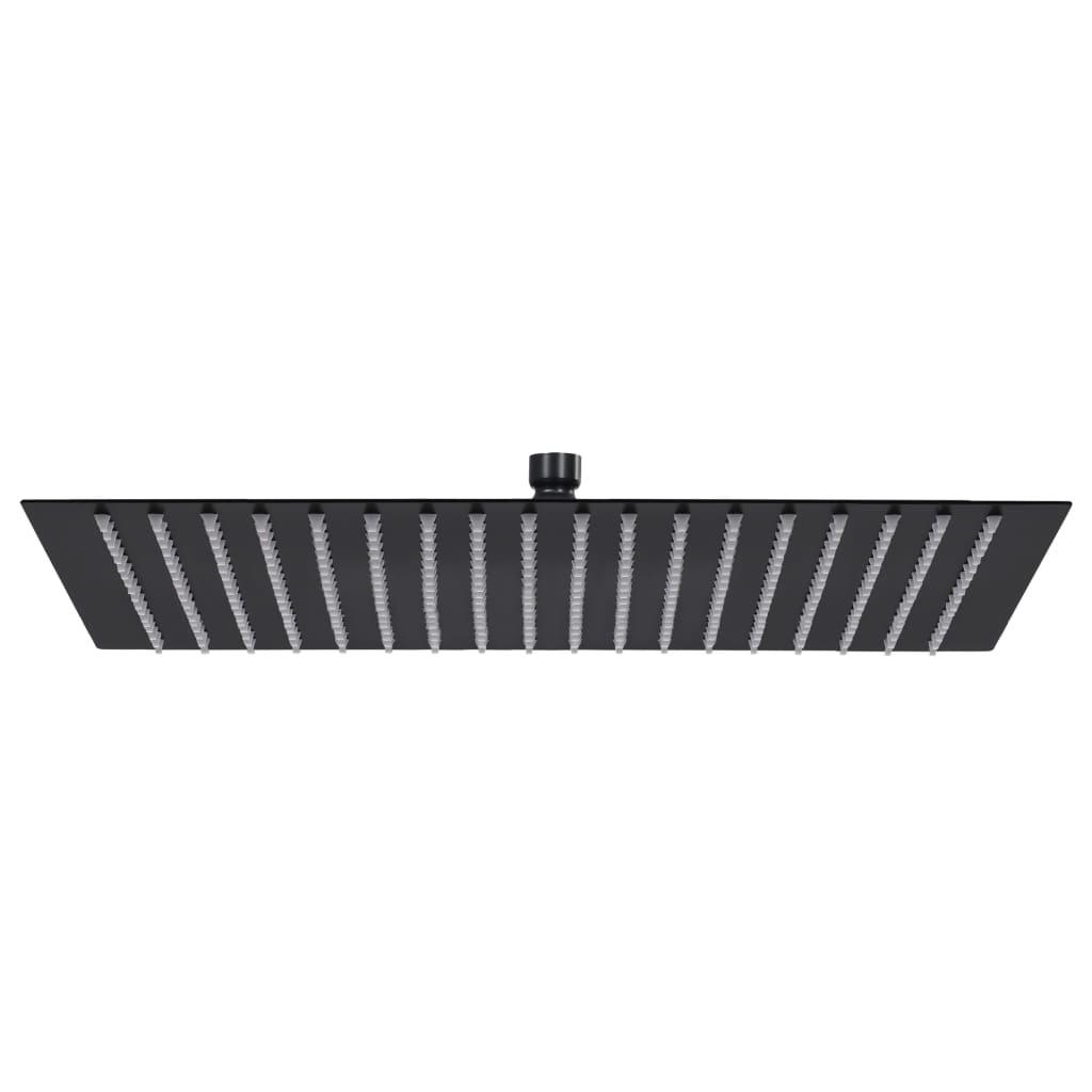 vidaXL Cap de duș tip ploaie pătrat, negru, 50x50 cm, oțel inoxidabil poza vidaxl.ro