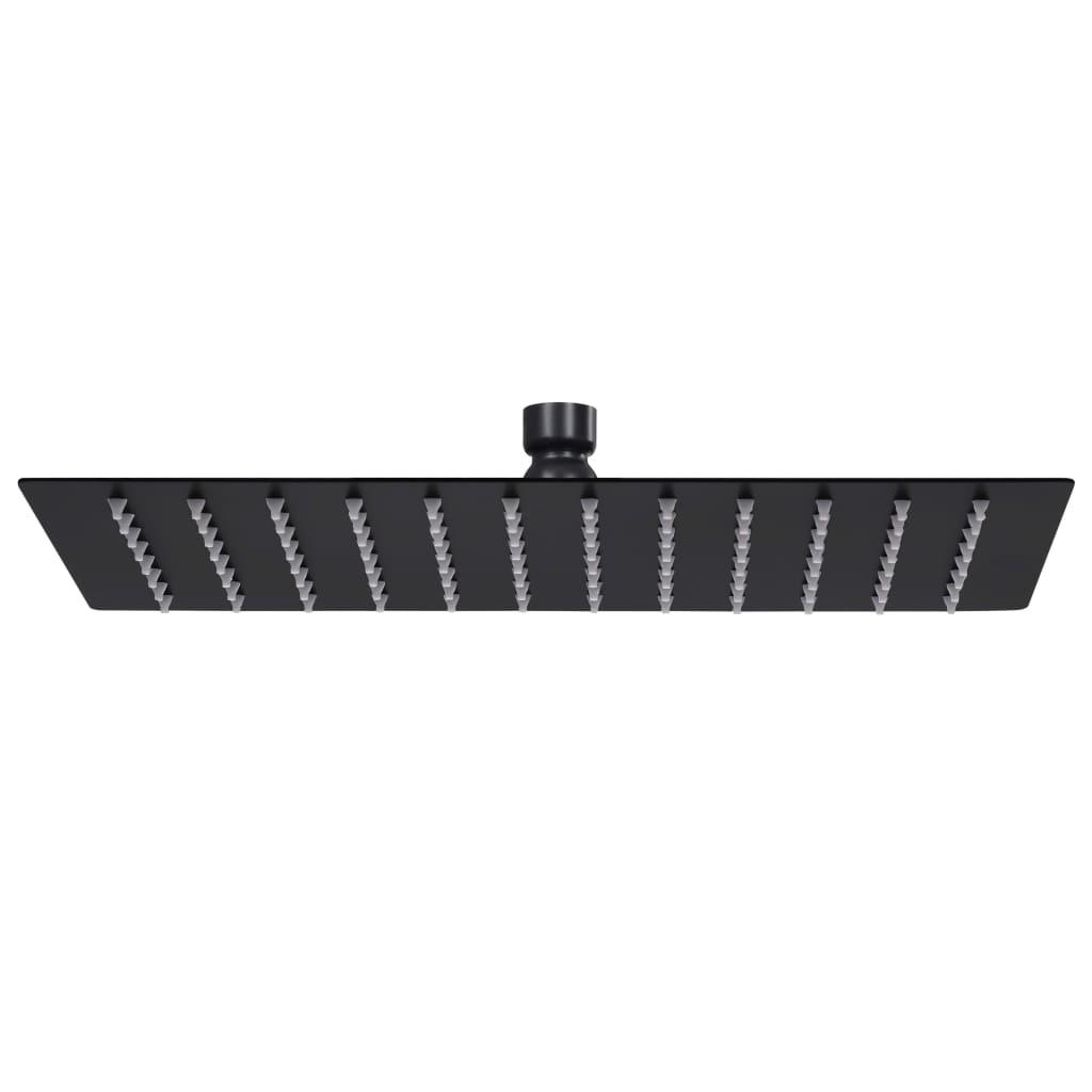 vidaXL Cap duș dreptunghiular tip ploaie negru 30x20cm oțel inoxidabil poza 2021 vidaXL