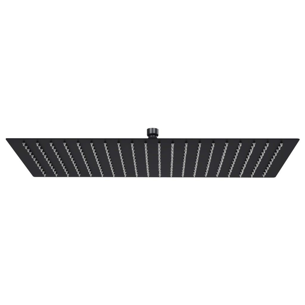 vidaXL Cap duș ploaie dreptunghiular, negru, 50x30 cm, oțel inoxidabil poza vidaxl.ro