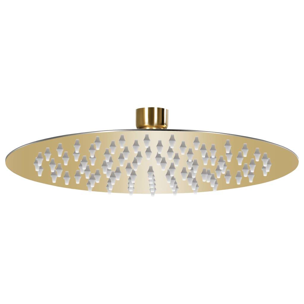 vidaXL Cap de duș tip ploaie rotund, auriu, 20 cm, oțel inoxidabil poza vidaxl.ro