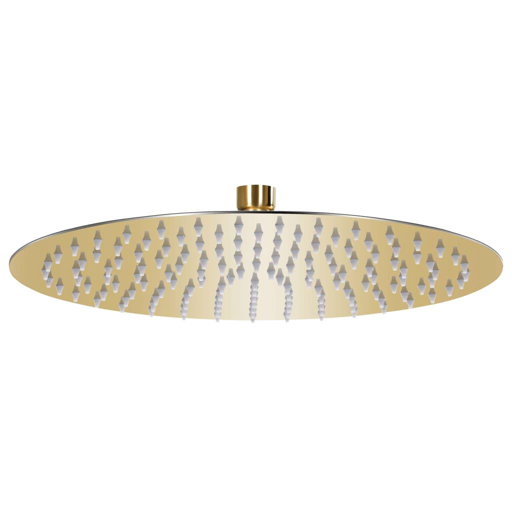vidaXL Cap de duș tip ploaie rotund, auriu, 30 cm, oțel inoxidabil poza vidaxl.ro