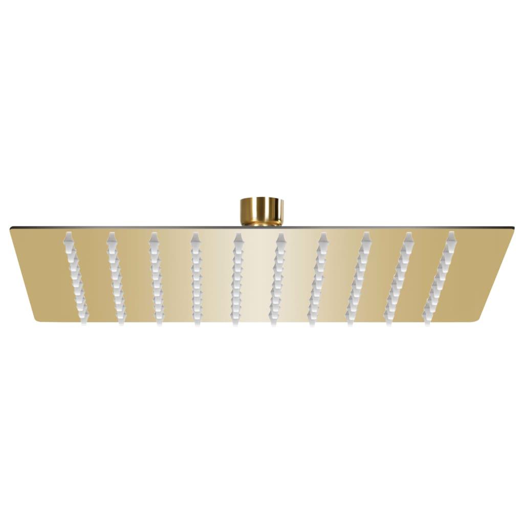 vidaXL Cap de duș tip ploaie pătrat, auriu, 20x20 cm, oțel inoxidabil vidaxl.ro