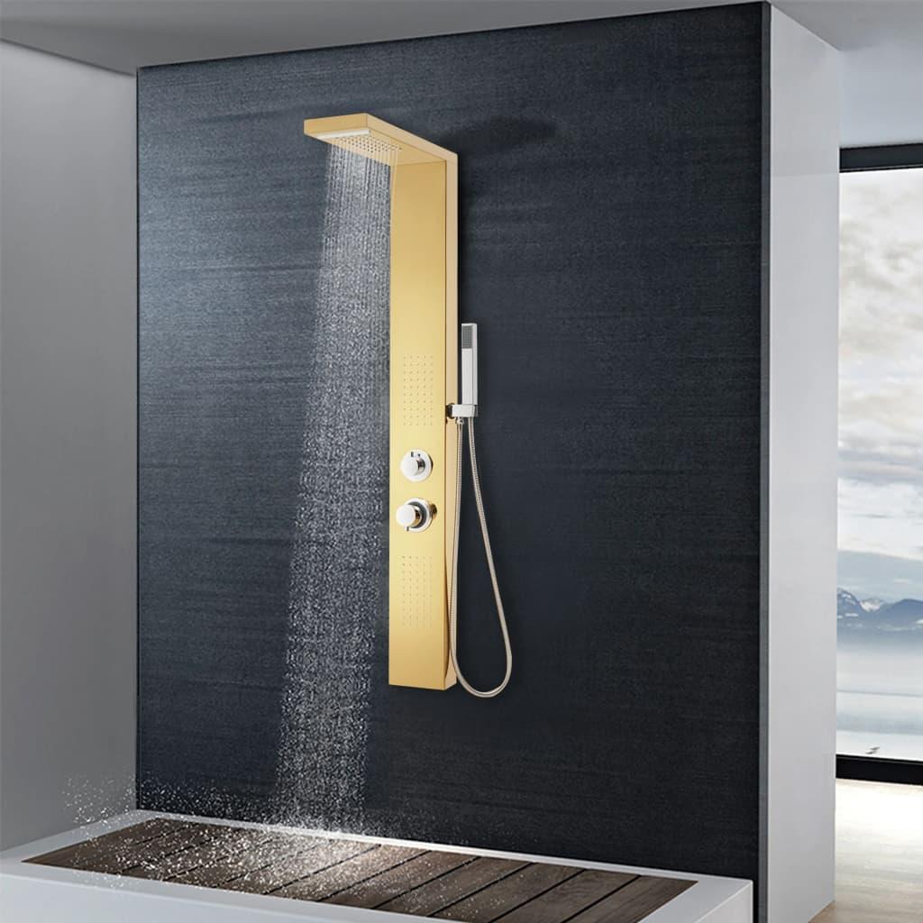 vidaXL Sistem panou de duș, auriu, oțel inoxidabil 201 vidaxl.ro