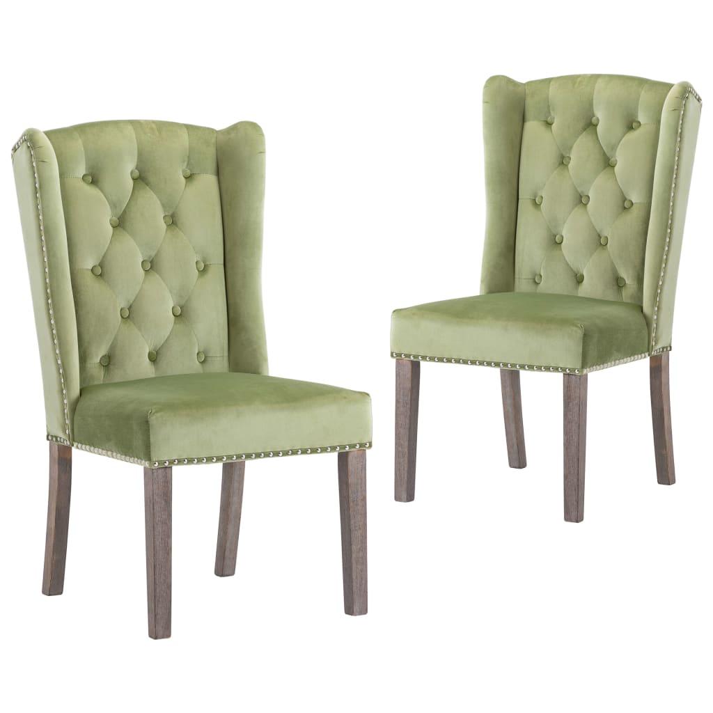 vidaXL Krzesła stołowe, 2 szt., jasnozielone, aksamitne
