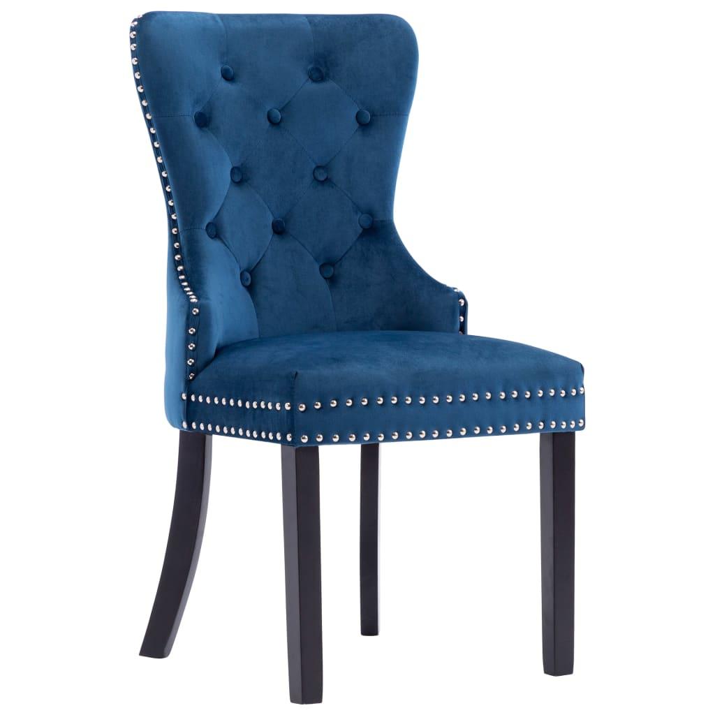 vidaXL Eetkamerstoelen 4 st fluweel blauw