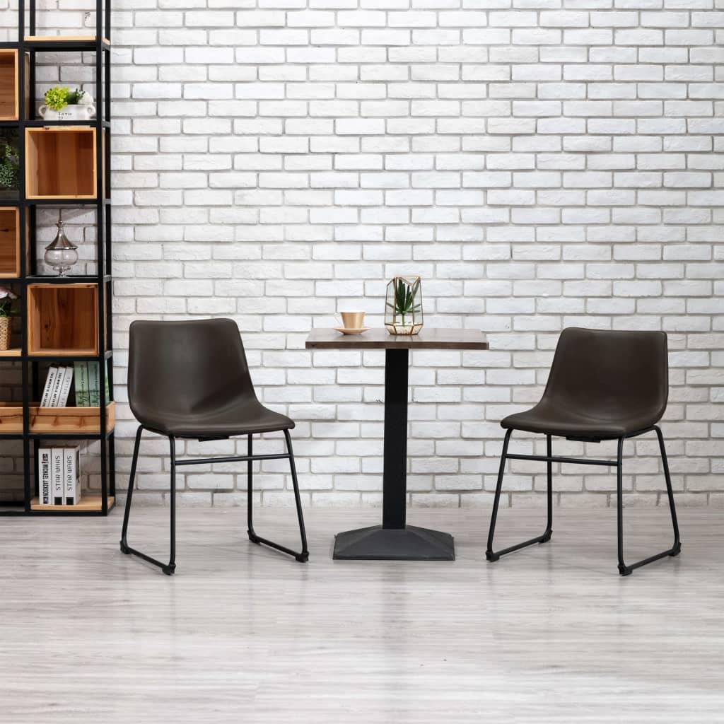Jídelní židle tmavě hnědá umělá kůže